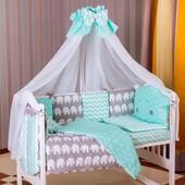 Постельный комплект Babyroom Бортики, 8 Элем. (100% хлопок) бирюзовый-графит(слоники)