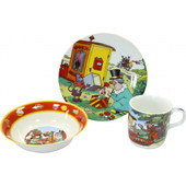 Детский набор посуды из фарфора Фунтик, 3 предмета