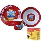 Детский набор посуды из керамики Не пора ли нам подкрепиться Кот ,3 предмета