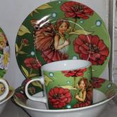 Детский набор посуды из керамики Бабочка, 3 предмета