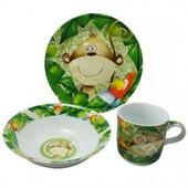 Детский набор посуды из фарфора Обезьянка , 3 предмета