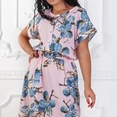 Размеры 50-56 Элегантное легкое летнее женское платье