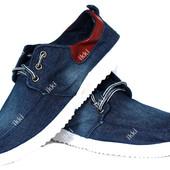 Джинсовый мужские стильные кеды - кроссовки маломерки (С-112)