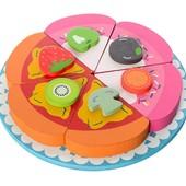 Деревянная магнитная игрушка Торт Пицца, деревянные продукты на магнитах