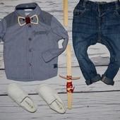 9 - 12 месяцев 80 см Очень модная фирменная рубашка для мальчика клетка Мазекеа Mothercare