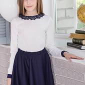Трикотажный белый джемпер для девочек школьного возраста DL1-054
