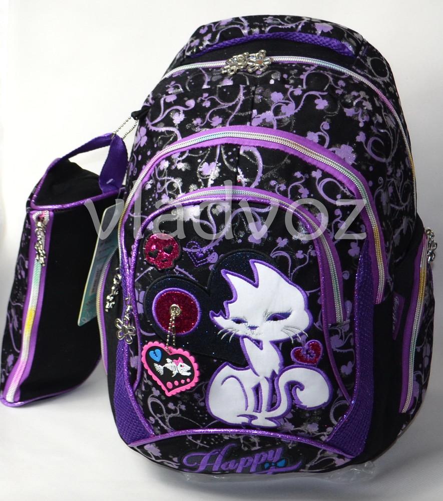 Школьный рюкзак для девочки с пеналом кот черный с фиолетовым 3419 фото №1