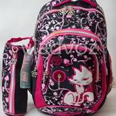 Школьный рюкзак для девочки с пеналом кот черный с розовым 3417