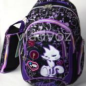 Школьный рюкзак для девочки с пеналом кот черный с фиолетовым 3419