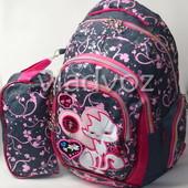 Школьный рюкзак для девочки с пеналом кот серый с розовым 3418