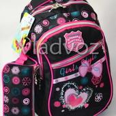 Школьный рюкзак для девочки с пеналом бантик черный 3409