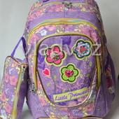 Школьный рюкзак для девочки с пеналом little princess сова цветы сиреневый 3393