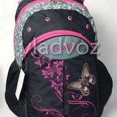 Школьный рюкзак для девочки подростка DFW бабочка черный