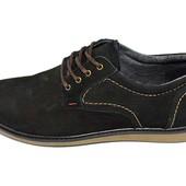 Туфли подростковые нубук Multi-Shoes Footwear Ray черные