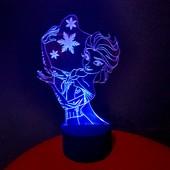 Снежный 3d акриловый светильник-ночник Эльза подарок декор сувенир детский
