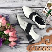 Модные закрытые туфли Asos в стиле white&black на массивном каблуке  SH3270
