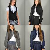 Болеро для школы, размеры 122-152, цвета - черный, синий, серый