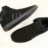 Мужские высокие кроссовки, черные, замшевые, на шнурках