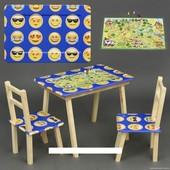 """Столик с ящик и два стульчика деревянные """"Голубой с игрой"""" С 066"""