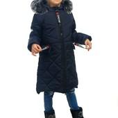 Распродажа! Зимняя удлененная куртка-пальто для девочки, 116-146 см, четыре цвета
