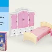 Кукольная Мебель для барби Gloria 24014  спальня и гардероб  в коробке 42*30*6см