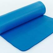 Коврик для фитнеса NBR 8мм с фиксирующей резинкой (каремат) 2778 Blue: размер 1,83х0,61м