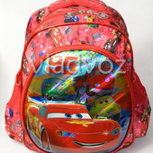Дошкольный рюкзак для мальчиков объёмный Тачки красный 3442