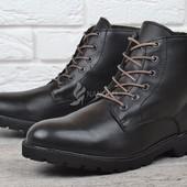 Мужские ботинки Mustang Португалия кожаные зимние черные завышенные