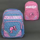 Рюкзак школьный, Голубые сердечки, 2 цвета, 3 отделения, 2 кармана, ортопедическая спинка