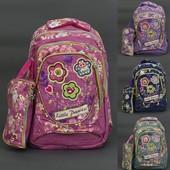 Рюкзак школьный, Little Princess, ткань-ЛЁН,4 вида, 3 отделения, пенал, ортопедическая спинка