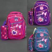Рюкзак школьный, Girl style, 4 вида, 2 отделения, 3 кармана, пенал, спинка ортопедическая