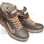 Ботинки кожаные мужские на зиму, черно-коричневые