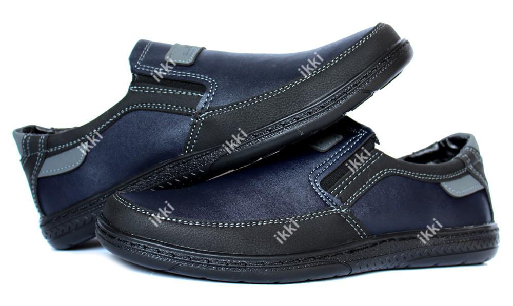 43 р туфли - мокасины мужские черные с синим (скл--8-2чсз) фото №1