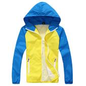 Жёлто-голубая ветровка мужская с капюшоном 1572 (2з