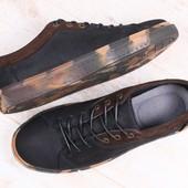 Мужские спортивные туфли, демисезонные, из натурального нубука, черные, с вставками темно-коричневог