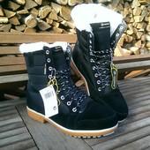 Зимние ботинки, натуральная замша.