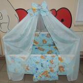 Детское постельное белье мишка с шариками голубое и розовое 9 в 1