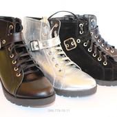 Женские кожаные демисезонные ботинки, разные цвета