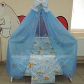 Детское постельное в кроватку мишки соты салатовое, бежевое, голубое