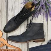 Мужские кожаные ботинки Asos с перфорацией и закрытой шнуровкой   SH3535