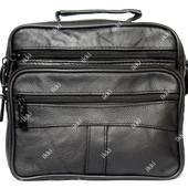 Мужская кожаная сумка 2 в 1 черного цвета (8016ч)