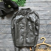 Темно серая куртка из мягкого кожзама р-р Л