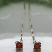 Серьги серебряные протяжки оранжевые 2233 8 ириста