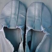 Мягкие кожаные серебристые чешки стелька 16,5см