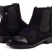 Стильные чёрные утеплённые ботинки, очень удобные