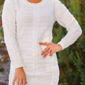 Стильное вязаное женское платье