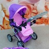 Коляска для куклы 9346 Melogo от 2 лет розовая-фиолетовая