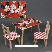 """Столик и два стульчика деревянные """"Мини Маус """" С 078"""