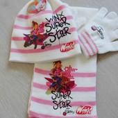 Шапочка+шарф+перчатки для девочек от 1 до 6 лет. Турция