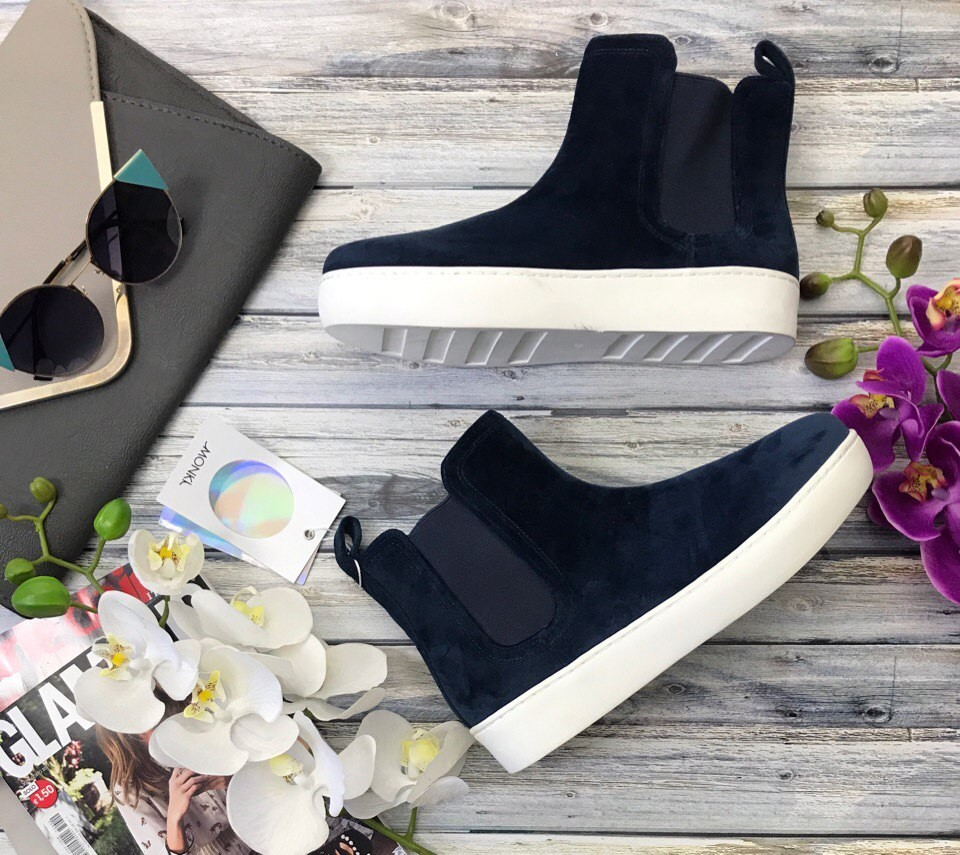 Стильные ботинки monki в стиле sport chic с велюровым верхом  sh3708 фото №1